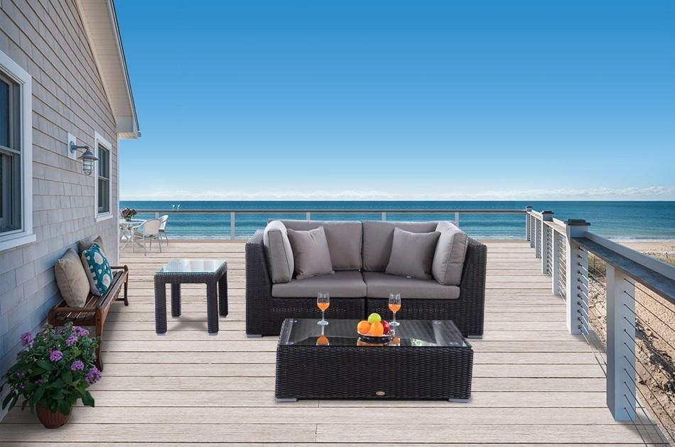 rattanm bel f r den garten rattan lounge bahira mit rundem rattan geflecht und extra komfort. Black Bedroom Furniture Sets. Home Design Ideas