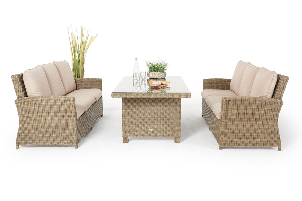 rattan garten lounge mit tisch rattan lounge dining set peppels mit hoher r ckenlehne. Black Bedroom Furniture Sets. Home Design Ideas