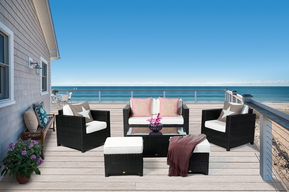 rattan gartenmoebel dallas luxus lounge schwarz. Black Bedroom Furniture Sets. Home Design Ideas