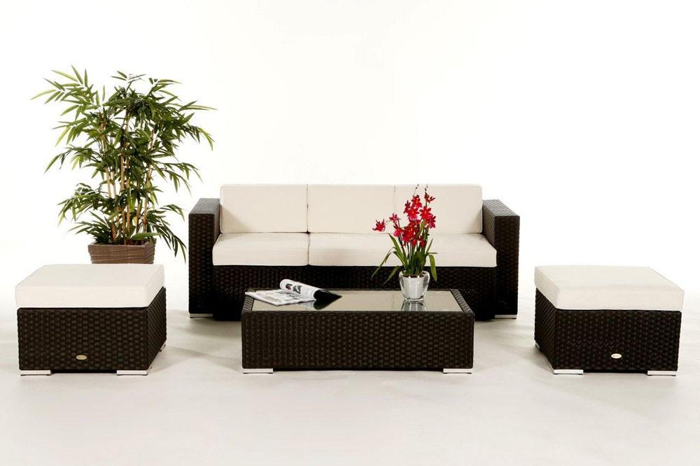 Rattan Gartenmöbel: Edle Rattan Lounge Niagara in der Farbe schwarz ...