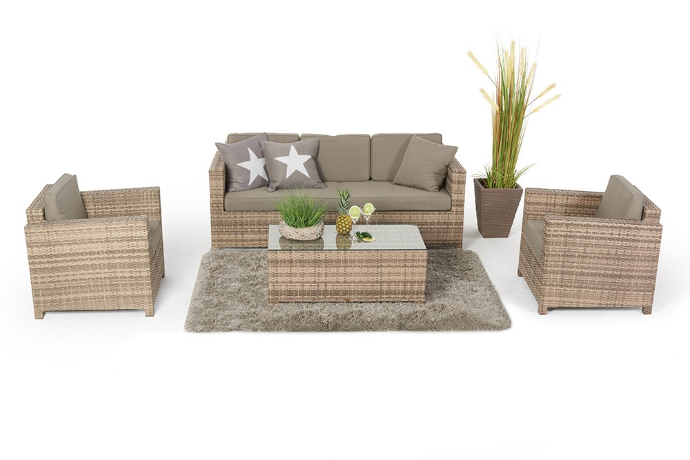 rattan gartenm bel rattan lounge rimini natural outdoor set. Black Bedroom Furniture Sets. Home Design Ideas