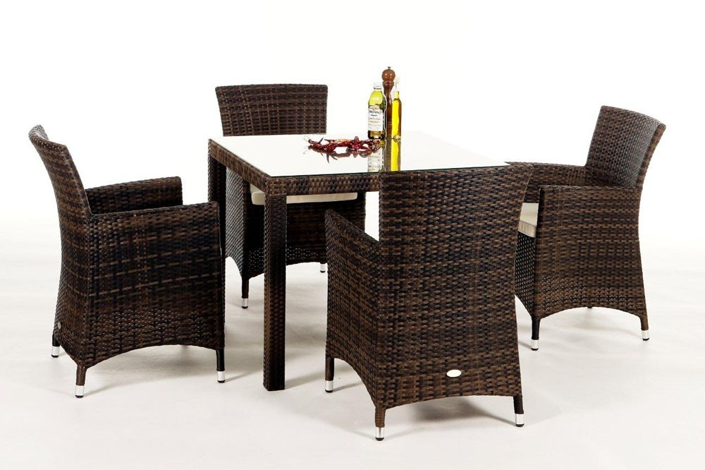 rattan esstisch rattan gartentisch 2 gartenstuehle jamaika 90 mixbraun. Black Bedroom Furniture Sets. Home Design Ideas