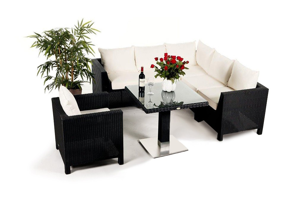 rattan gartenm bel rattan lounge dining darling lounge tischset schwarz. Black Bedroom Furniture Sets. Home Design Ideas
