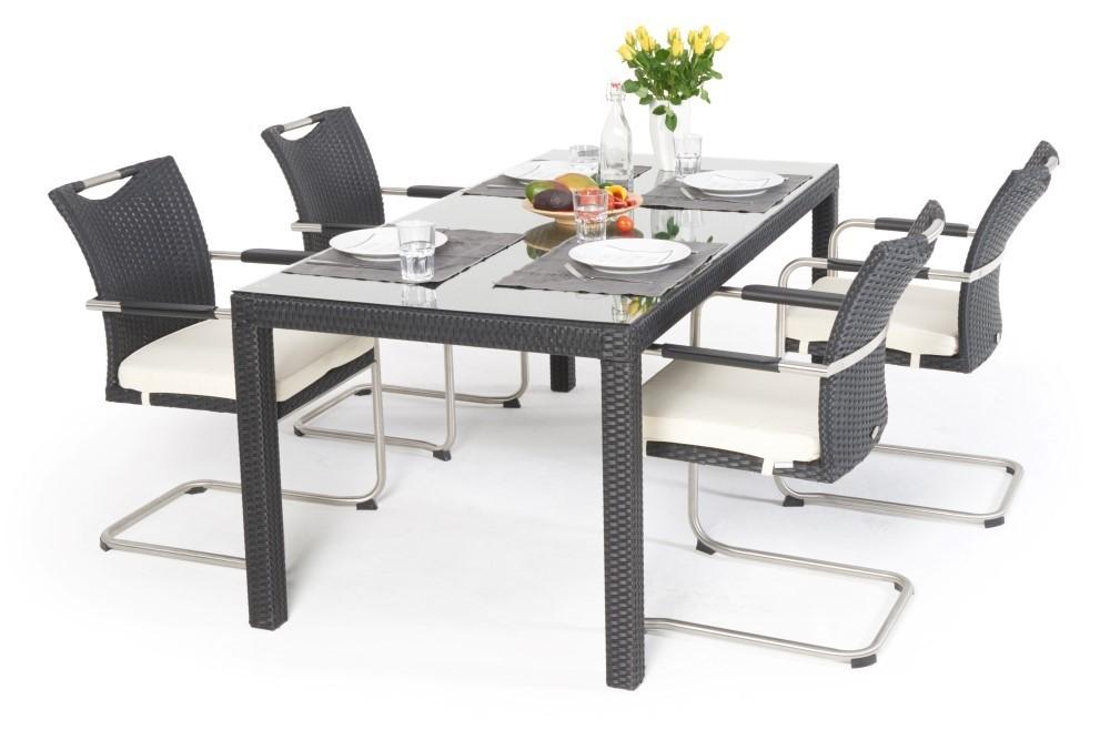 Rattan Gartentisch Edler Rattan Tisch In Schwarz Mit 6 Swing