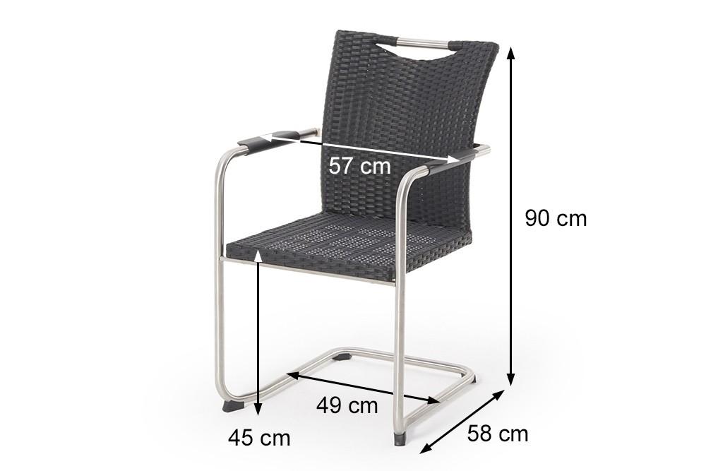 rattan gartentisch edler rattan tisch 90 cm in schwarz mit 2 swing st hlen sale. Black Bedroom Furniture Sets. Home Design Ideas