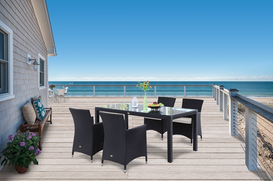 rattan tisch rattan gartentisch 4 gartenstuehle jamaika 180 schwarz. Black Bedroom Furniture Sets. Home Design Ideas
