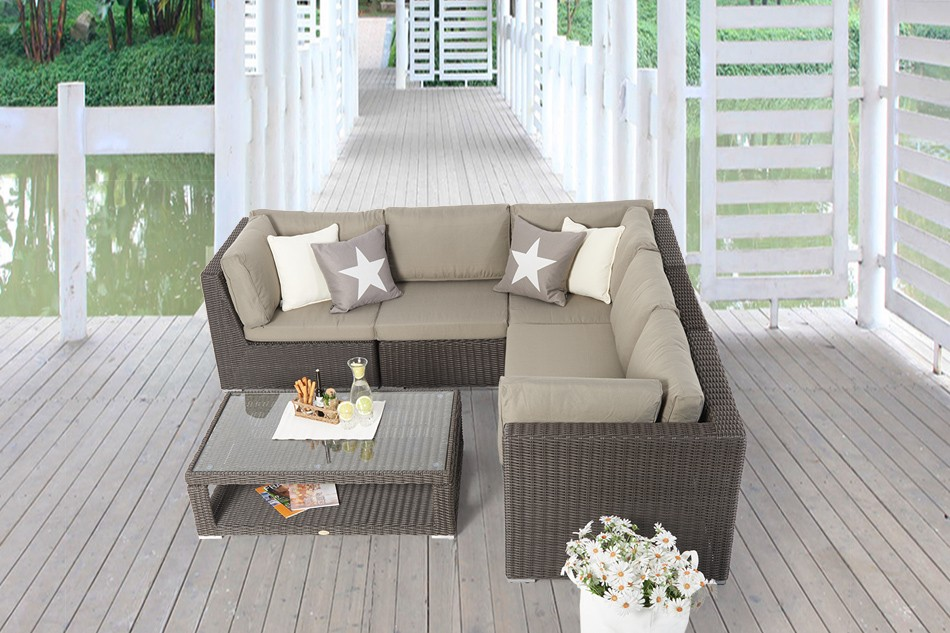 rattan gartenm bel rattan lounge dining tischset emely braun. Black Bedroom Furniture Sets. Home Design Ideas