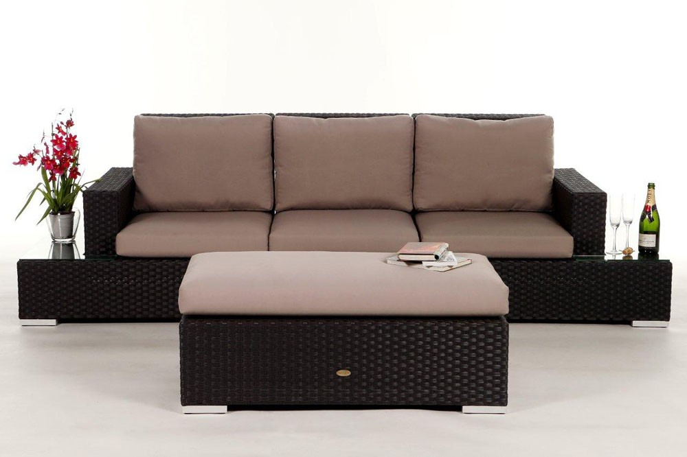 rattan gartenm bel rattanm bel samui rattan sofa rattan lounge braun. Black Bedroom Furniture Sets. Home Design Ideas