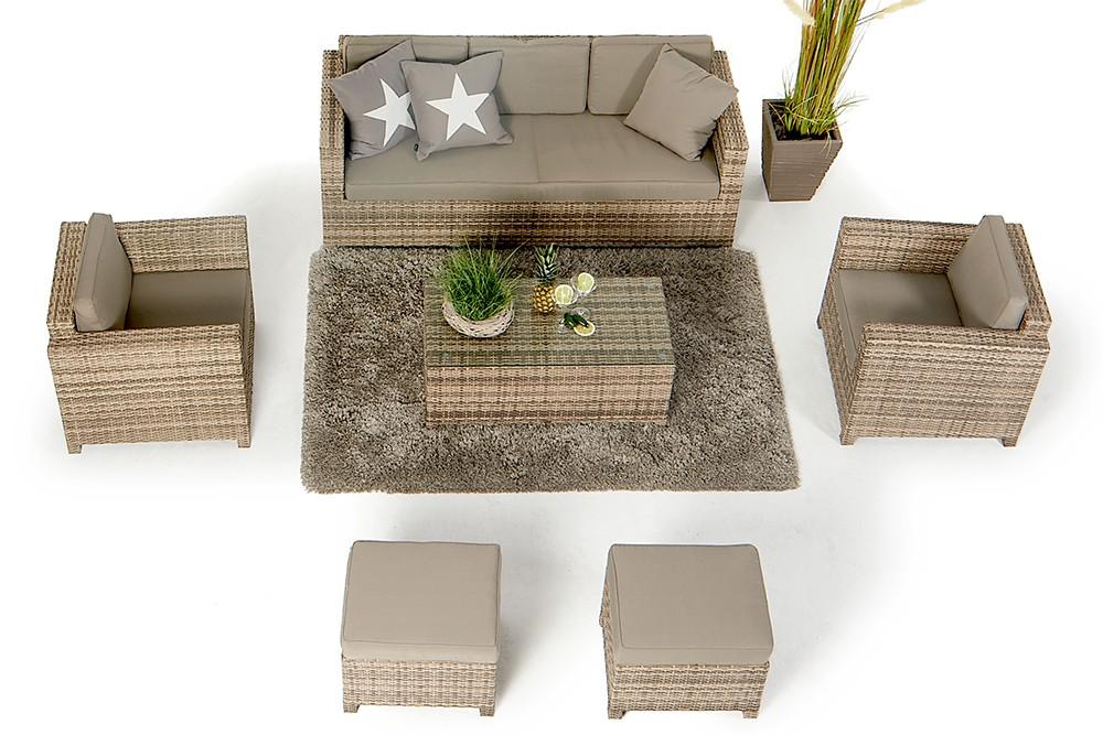 rattan lounge rattanm bel rimini luxus natural rattan gartenm bel. Black Bedroom Furniture Sets. Home Design Ideas
