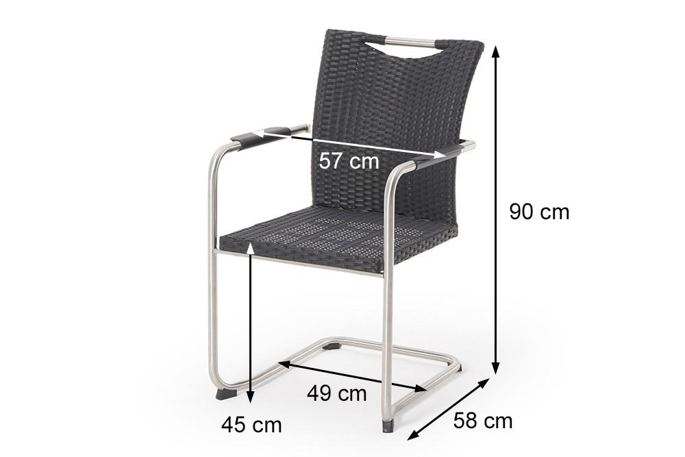 rattan tisch gartenm bel grosser tisch in schwarz mit 6 swing st hlen sale. Black Bedroom Furniture Sets. Home Design Ideas