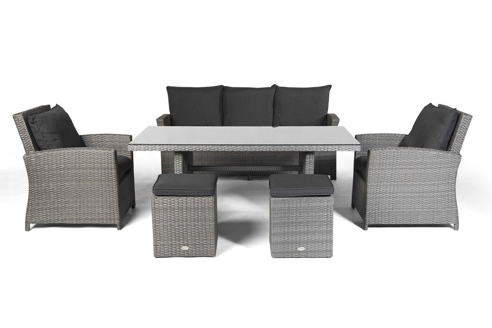rattan lounge dining rattan esstisch rattan st hle rattan gartenm bel wilma grau. Black Bedroom Furniture Sets. Home Design Ideas