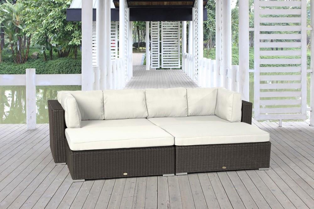 Stoffbezug - beige - Buddha - Rattanmöbel - Lounge