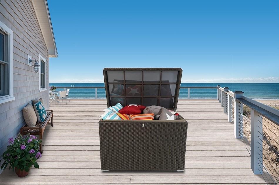 grosse rattan kissenbox f r den garten wasserfest el vado braun. Black Bedroom Furniture Sets. Home Design Ideas