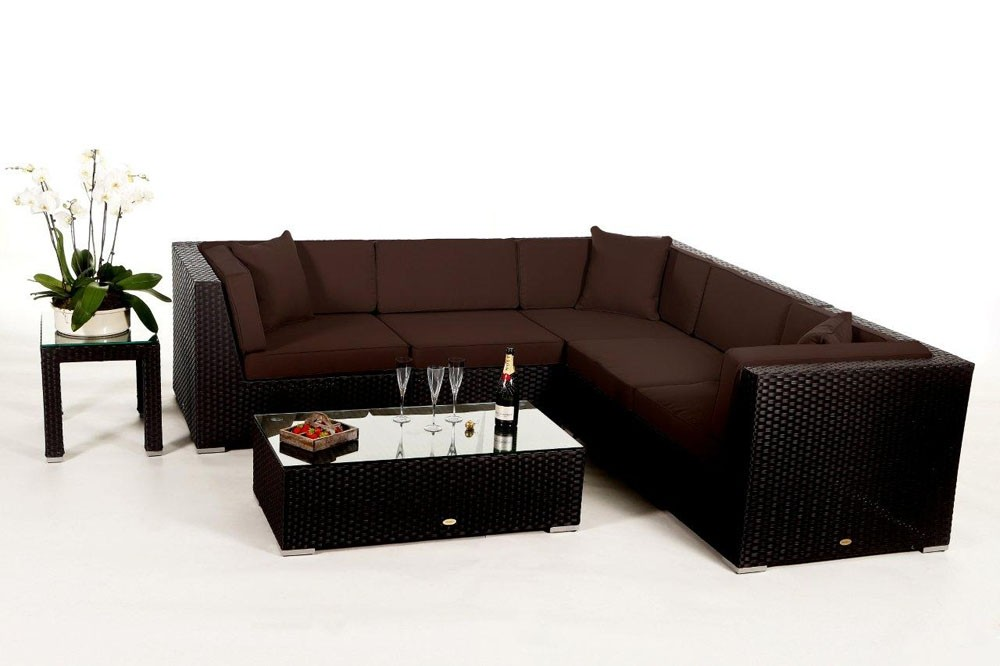 gartenm bel zubeh r sitzpolster bez ge f r rattan gartenm bel sch nes day lounge set in braun. Black Bedroom Furniture Sets. Home Design Ideas
