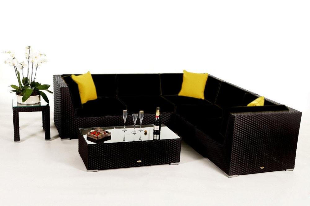 rattan lounge zubeh r sitzpolster bez ge f r rattan gartenm bel sch nes day lounge set in schwarz. Black Bedroom Furniture Sets. Home Design Ideas