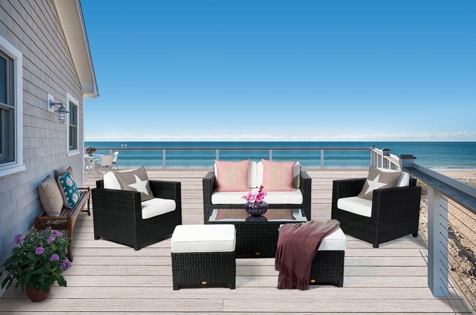 Rattan gartenmoebel dallas luxus lounge schwarz - Luxus gartenmobel ...