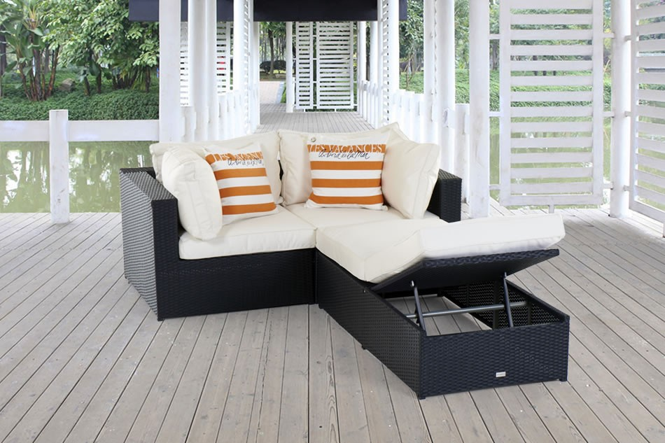 rattan lounge rattan gartenlounge rattan gartenm bel bali schwarz lounge mit liege. Black Bedroom Furniture Sets. Home Design Ideas