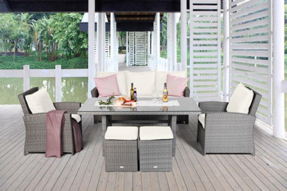 Rattan lounge grau  Lounge Polster Bezüge - Rattan Lounge Dining - Wilma grau ...