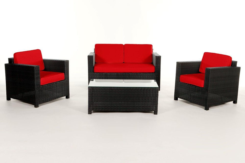 polsterbezug set rot rattan lounge rattan loungem bel zubeh r dallas. Black Bedroom Furniture Sets. Home Design Ideas
