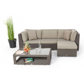 rattan lounge dining loungen und essen sch nes gartenm bel set mit h henverstellbarem rattan tisch. Black Bedroom Furniture Sets. Home Design Ideas