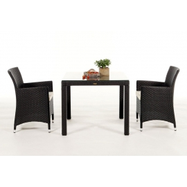 rattan esstisch rattan gartentisch 2 gartenstuehle jamaika 90 dunkelbraun. Black Bedroom Furniture Sets. Home Design Ideas