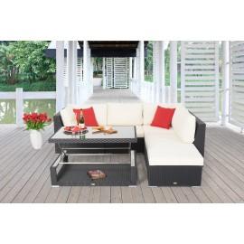 Rattan lounge schwarz  Rattan Lounge Dining - Das Kombiset für den Garten - Elli Lounge ...