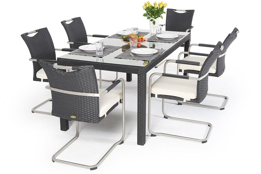 Gartentisch Sale.Sale Schwarz Rattan Tisch 4 Stühle